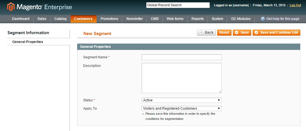 Magento Enterprise Customer Segmentation Step 2