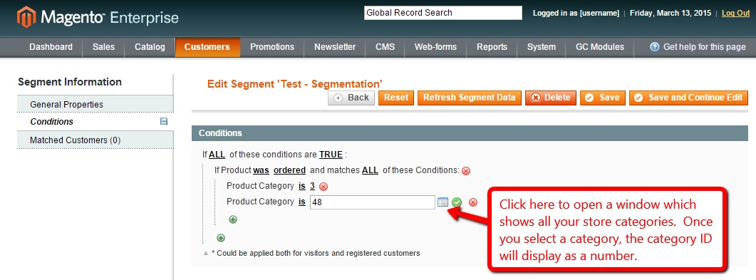 Magento Enterprise Customer Segmentation Step 3