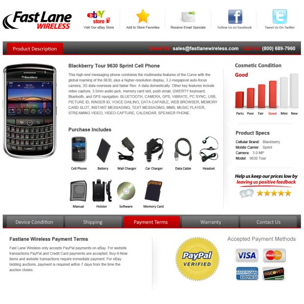 fast lane wireless ebay template