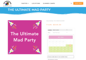 Original Party Booking Page